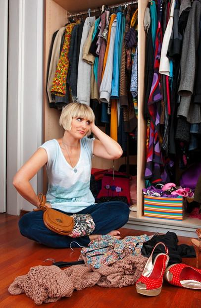 woman organzing closet