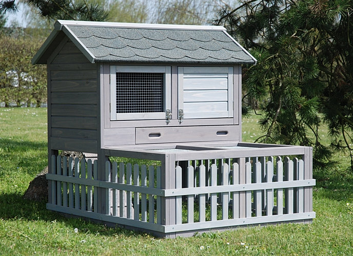 Grand clapier en bois avec toit tuil et grand enclos lapin for Cage a lapin exterieur