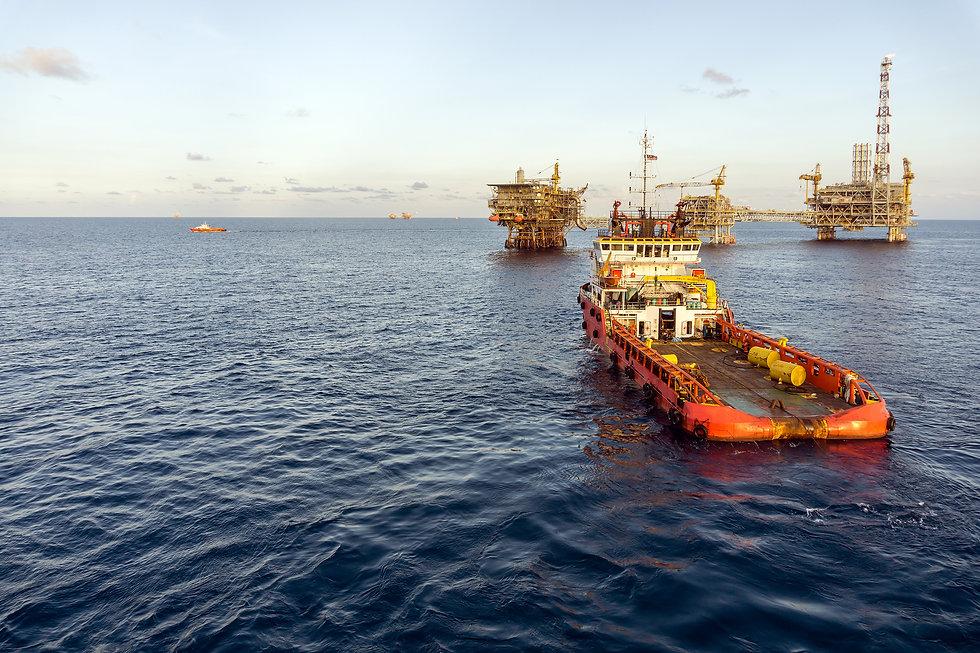 Anchor handling tug boat approaching an