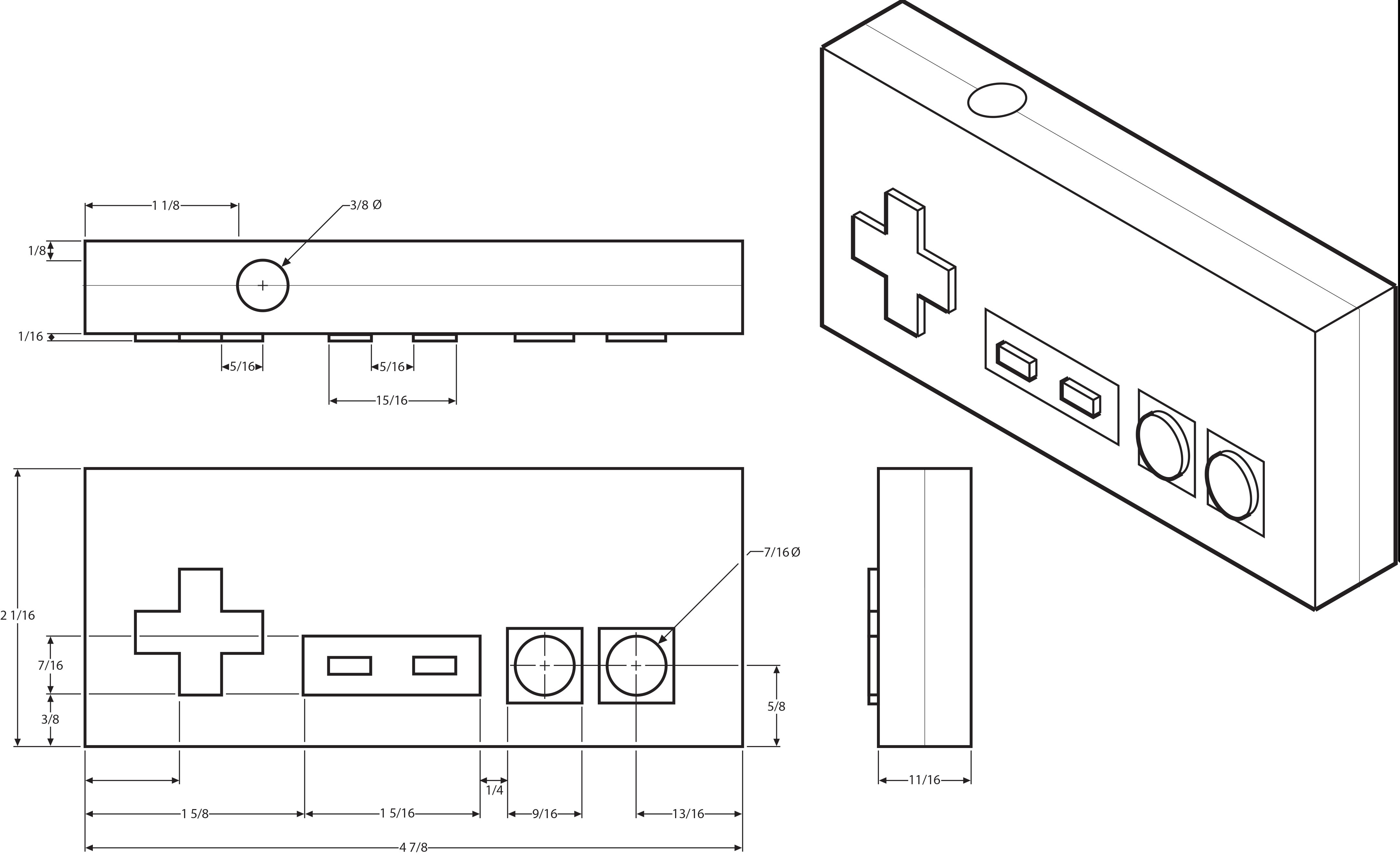 nes controller size