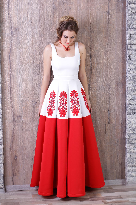 Модные платья красно белые