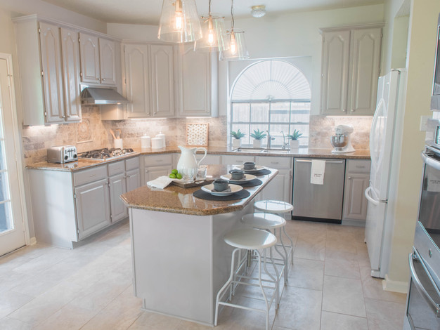 The Granite Countertops In This Kitchen Were The Element That We Needed To Make Work Because The Lady Of The House Wanted To Go More Towards The Greys And