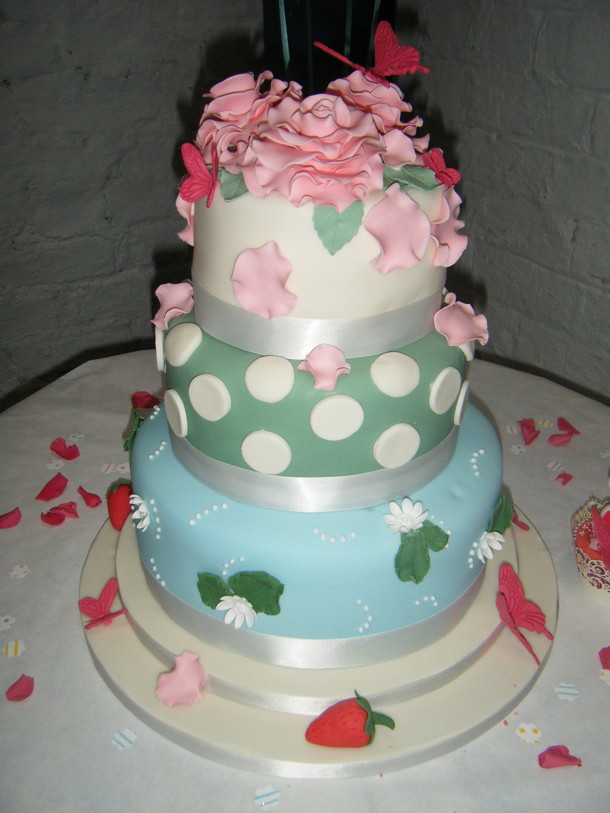 3 Tier Vintage Summer Wedding Cake