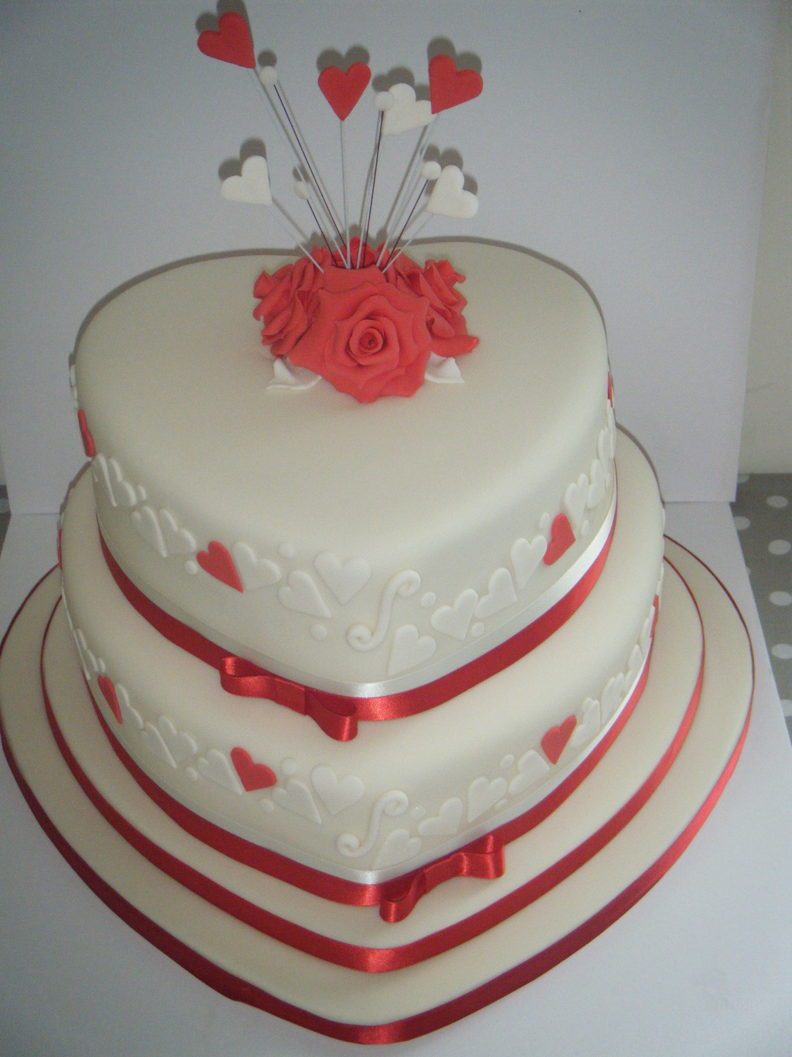 Fluffy Cakes Bespoke Cake Design 2 Tier Red Hearts