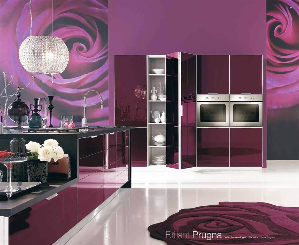 Кухня фиолетовая белая  № 1839208 без смс