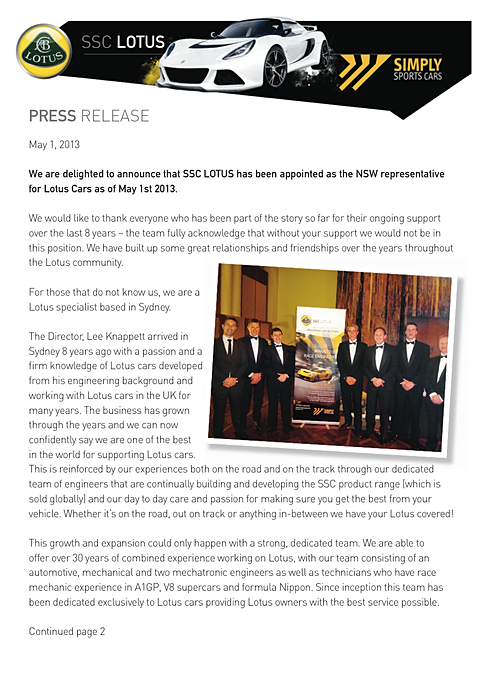 new car dealership press releasealchemists advertising agency  SSC LOTUS