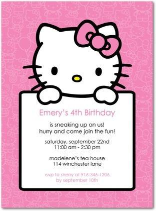 ARTEnvitations Wixcom - Sample birthday invitation hello kitty