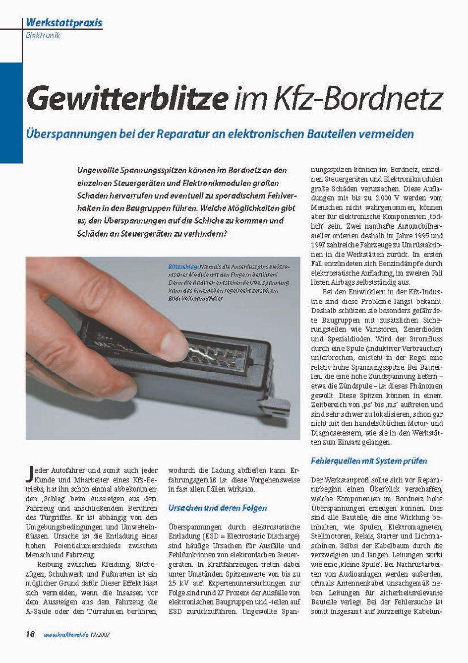 Reinhold Dörfler Kfz Elektronik | Gewitterblitze im Kfz Bordnetz