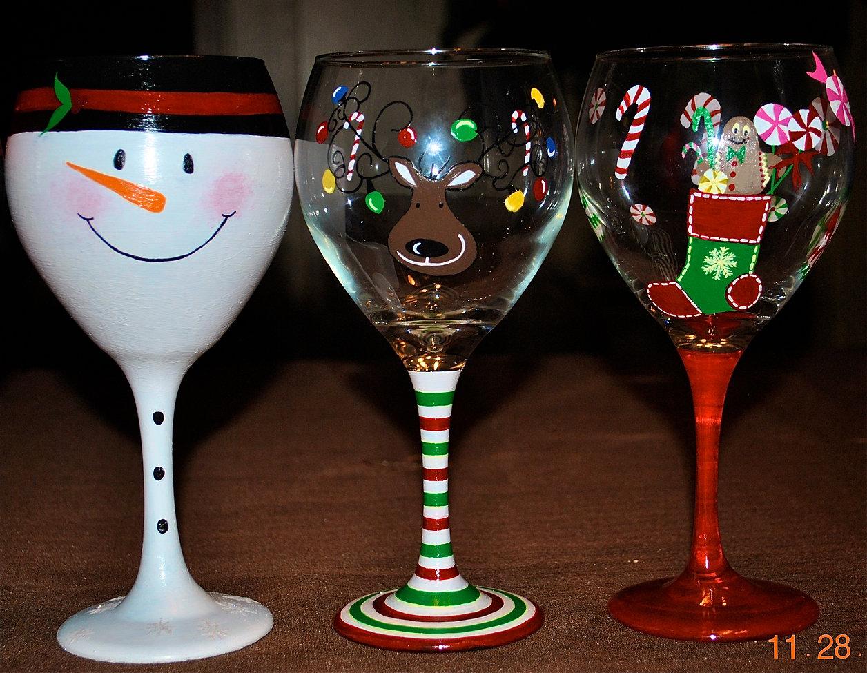 Christmas Tree Wine Glasses Set Of
