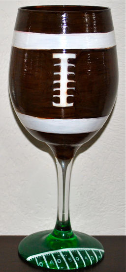 Football & Yard Line Base Wine Glass | www