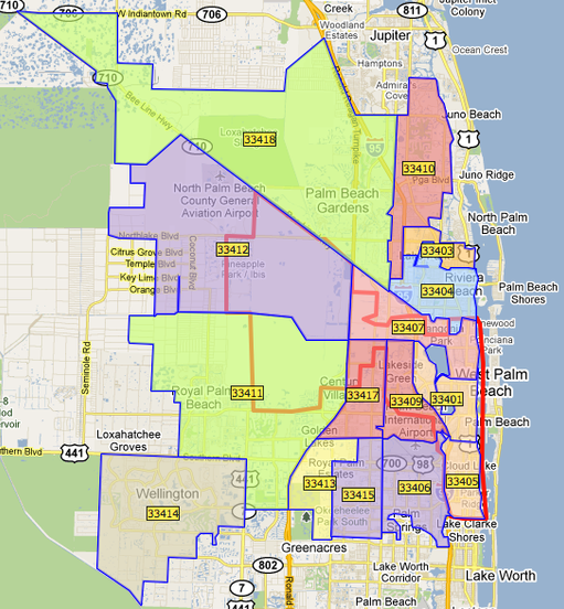 City Of West Palm Beach Area Map
