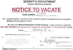 writ of possession notice to vacate california eviction law