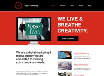 Digital Marketing Template - Bold design and eye-catching color make this the perfect template for your marketing agency or PR company. Create a photo gallery of past projects and customize the text to describe your services and qualifications. Use the Blog page to keep your followers up to date on your latest activities.