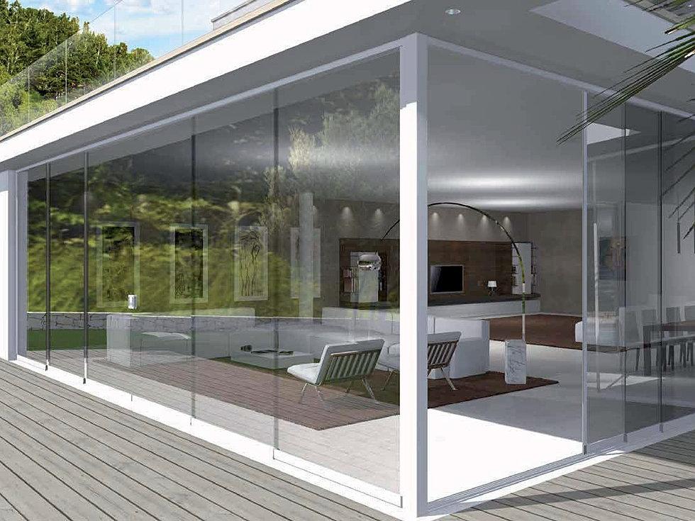 Vetrate frangivento tutto vetro tende trasparenti antivento - Vetrate per esterni ...
