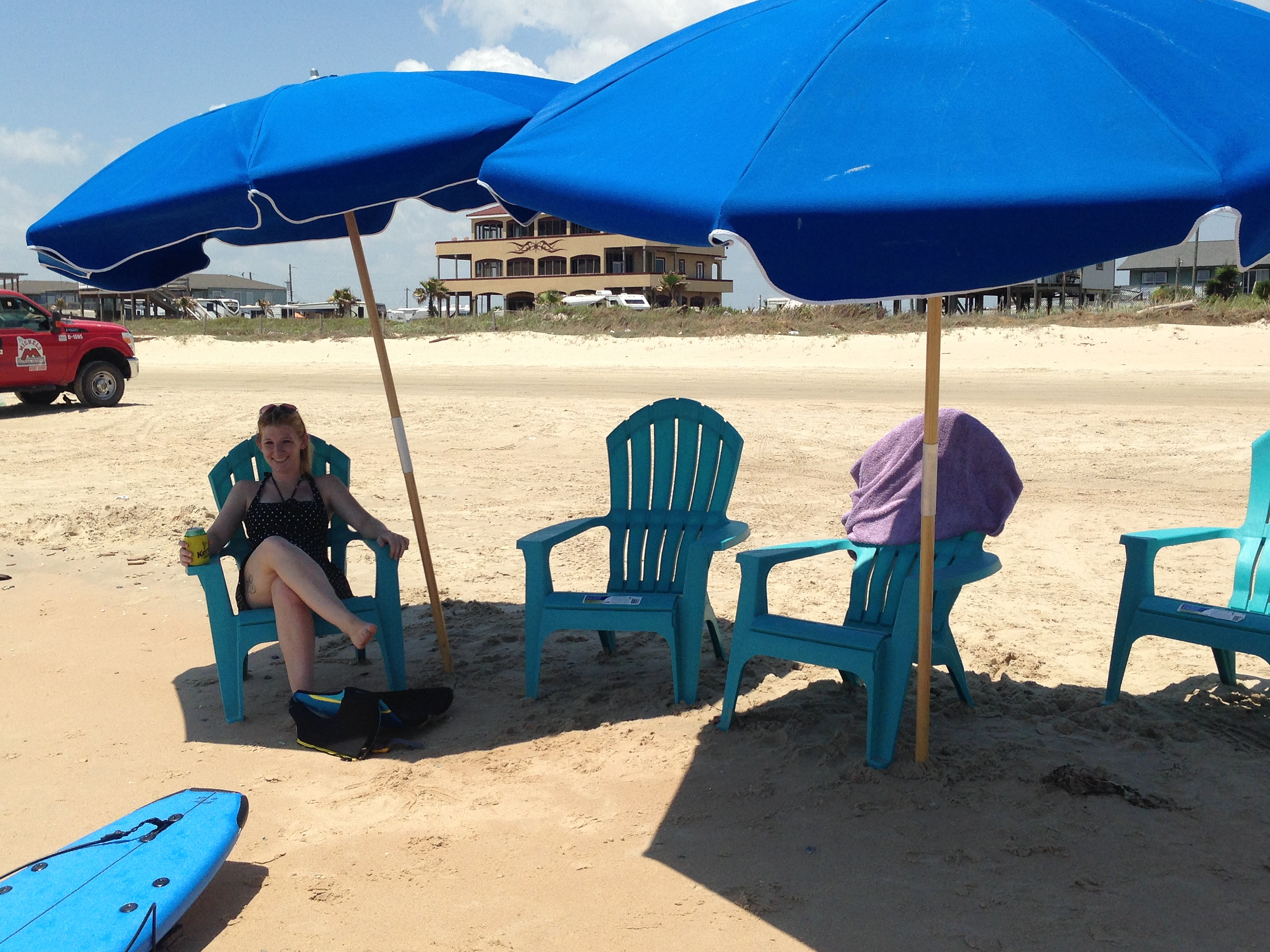 2 beach chairs on the beach - 2