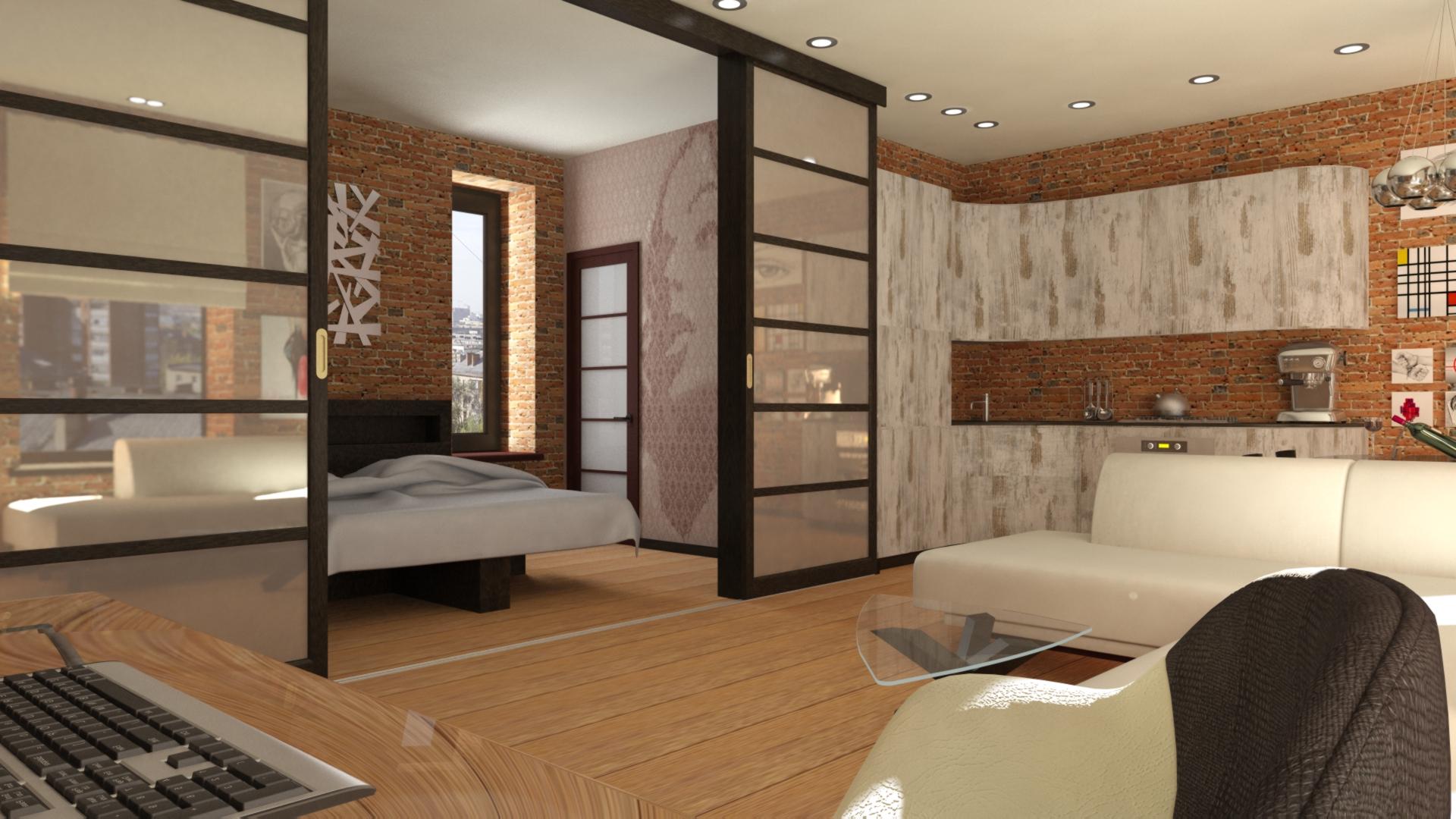 Дизайн интерьера 2 х комнатной квартиры 50 кв.м