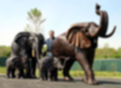 Bronze Statues of Elephants Family with Mama, Papa, Kid, and Baby