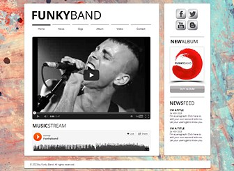 Punk Band Template - The strong fonts and grungy artistry of the background give this template a funky feel. Upload videos and songs, spread the word about gigs, and share news and links with your fans. Create a website and take your band to the next level!
