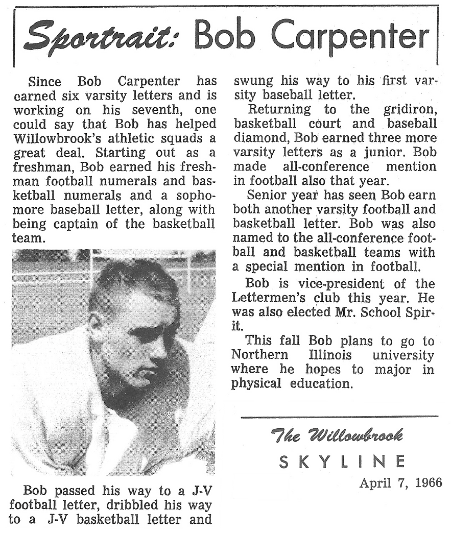 Carpenter Willowbrook  1966 Willowbrook Football - Bob Carpenter Sportrait.png