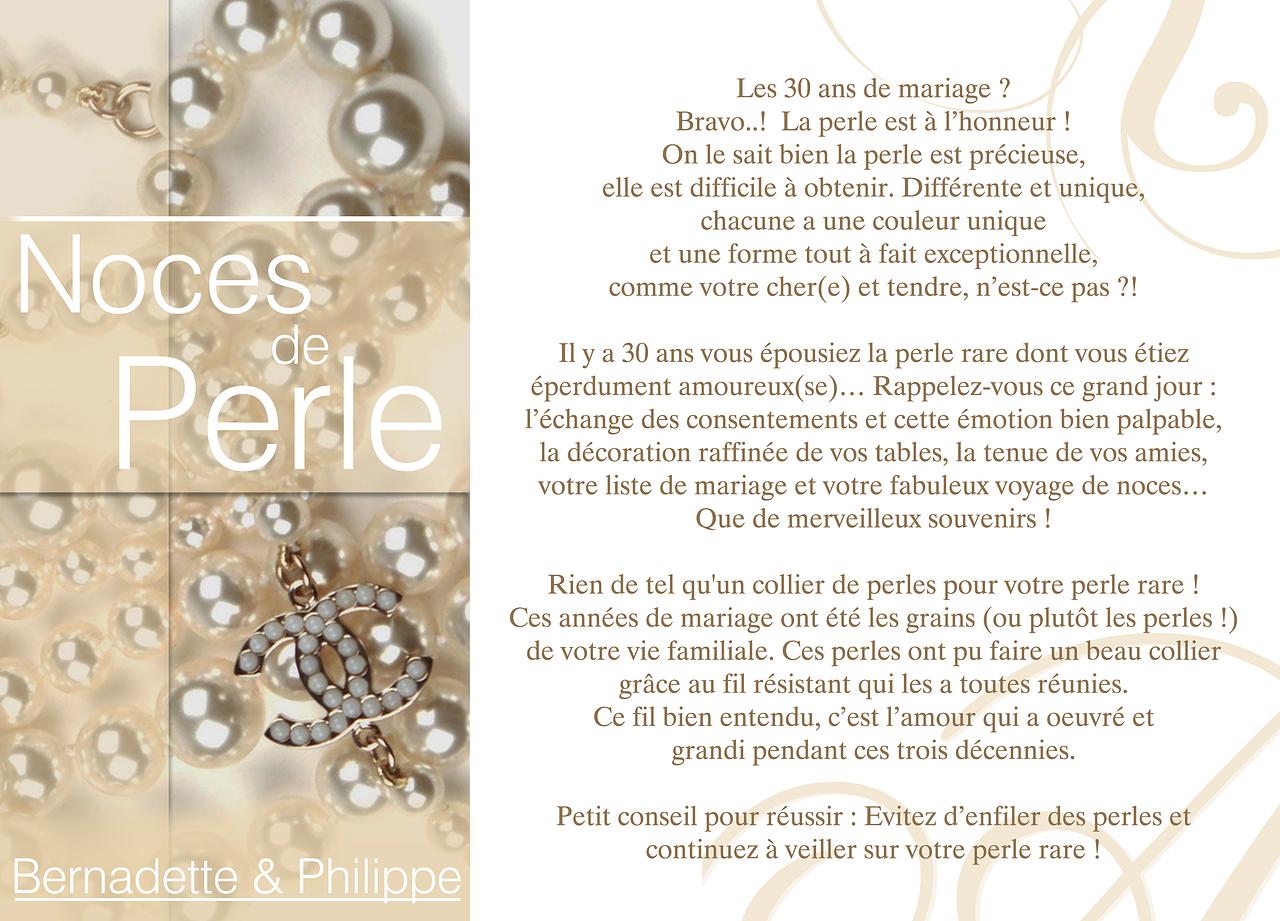 Modele invitation noce de perle document online - Anniversaire de mariage noce ...