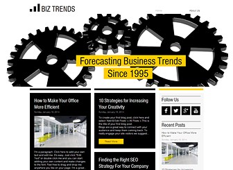 Business Review Blog Template - Keep ahead of the trends with this cutting-edge business review blog template. Perfect for anyone wishing to blog about business trends and forecasts, the sleek boxed layout allows you to create a professional looking, modern and edgy blog. It couldn't be easier to customize, just click on a blog post and edit the text and start setting trends today!