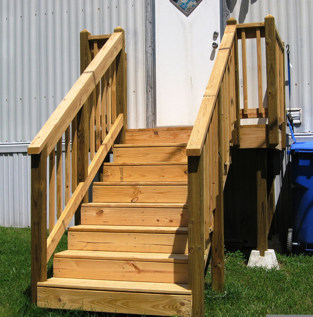 Porch steps for mobile home patios for mobile homes pool for Manufactured stairs