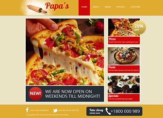 Pizzeria Template - This easy-to-navigate website template gives hungry customers immediate access to your specials, menu, and delivery information. Add text to advertise promotions and upload sumptuous photos of your dishes to entice food lovers. Bon appétit!