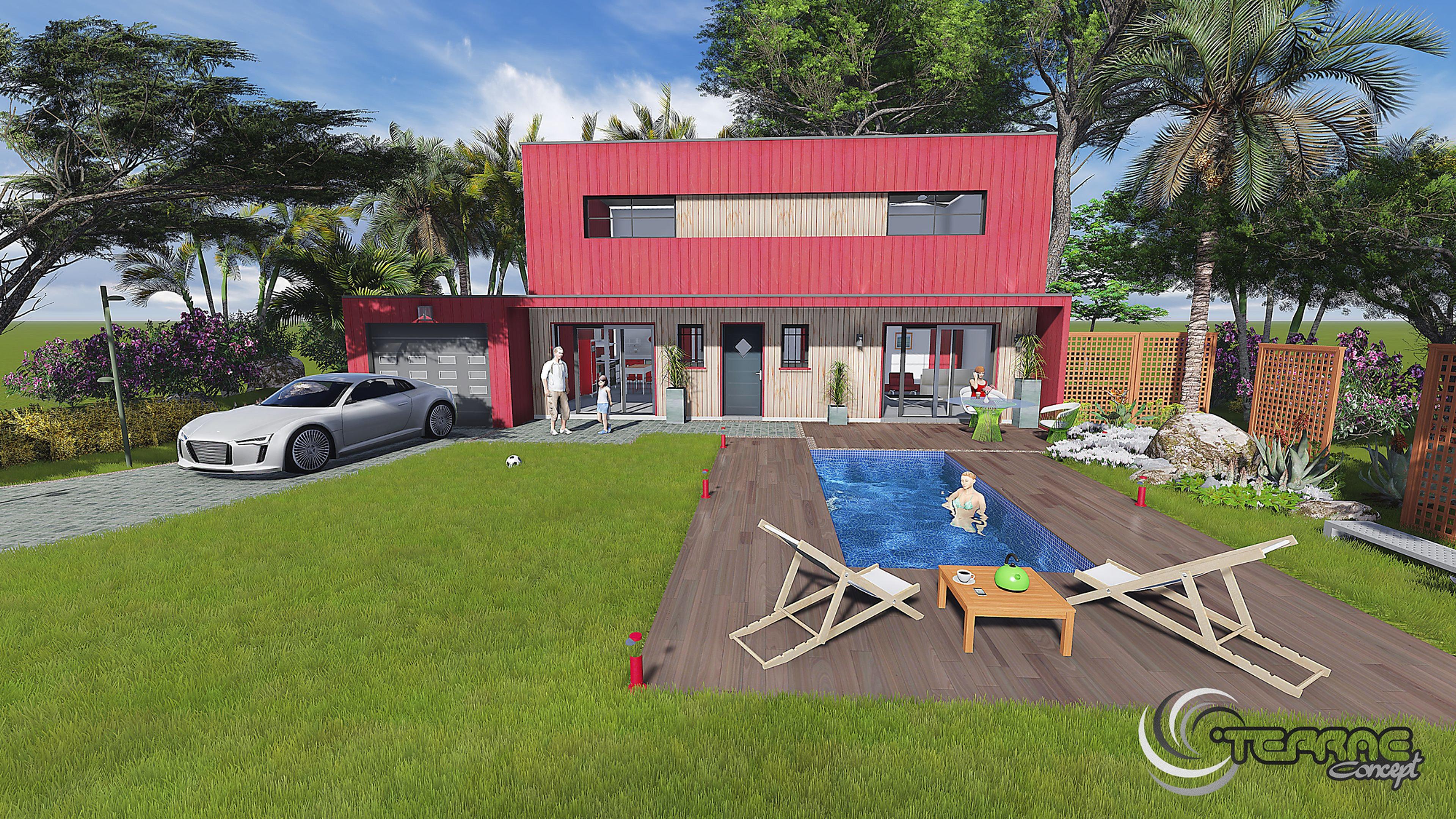 Piscine de luxe,plan de jardin 3d, pool house et cuisne d'été.