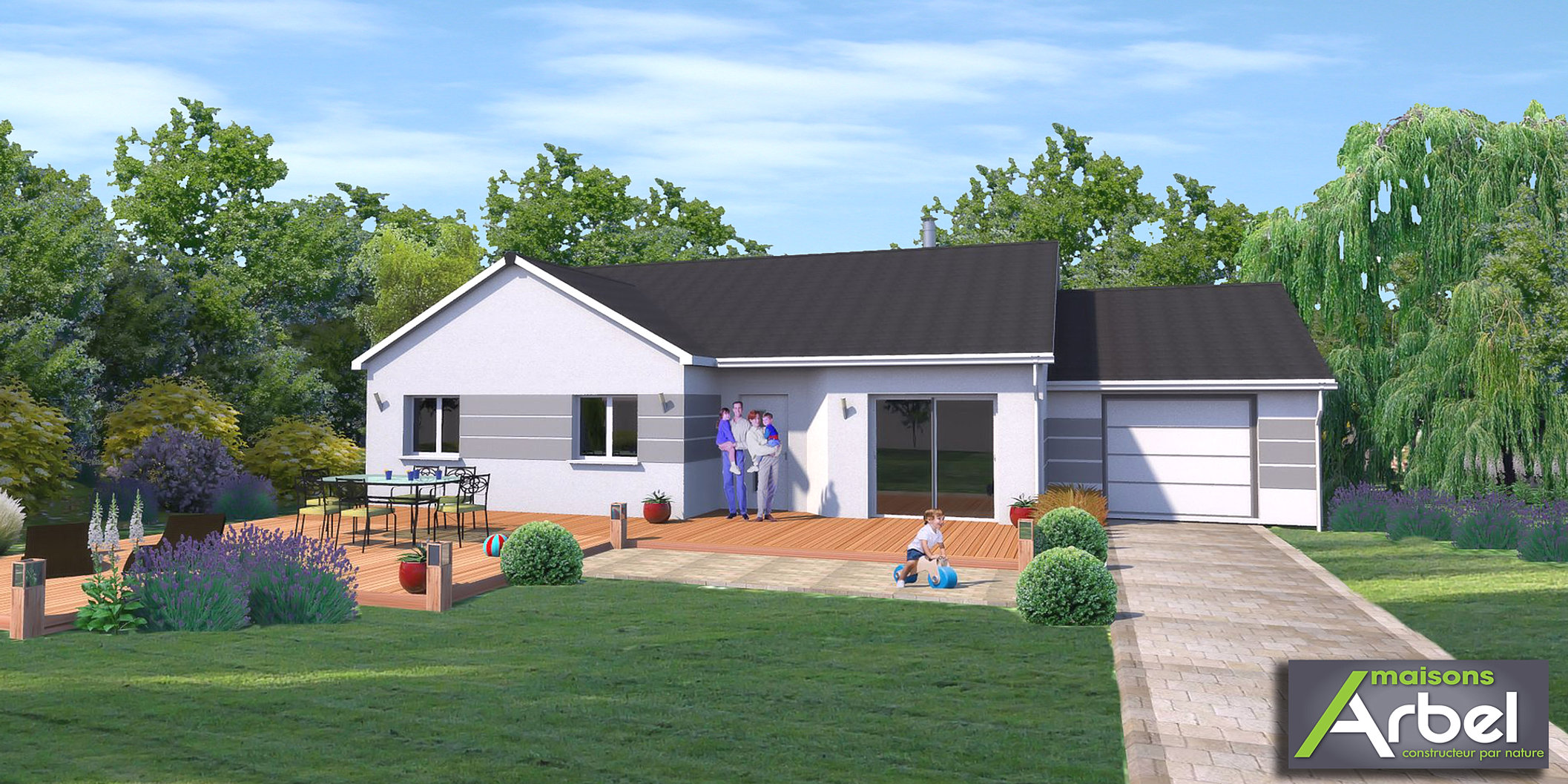Maison moderne carre for Maison en 3d