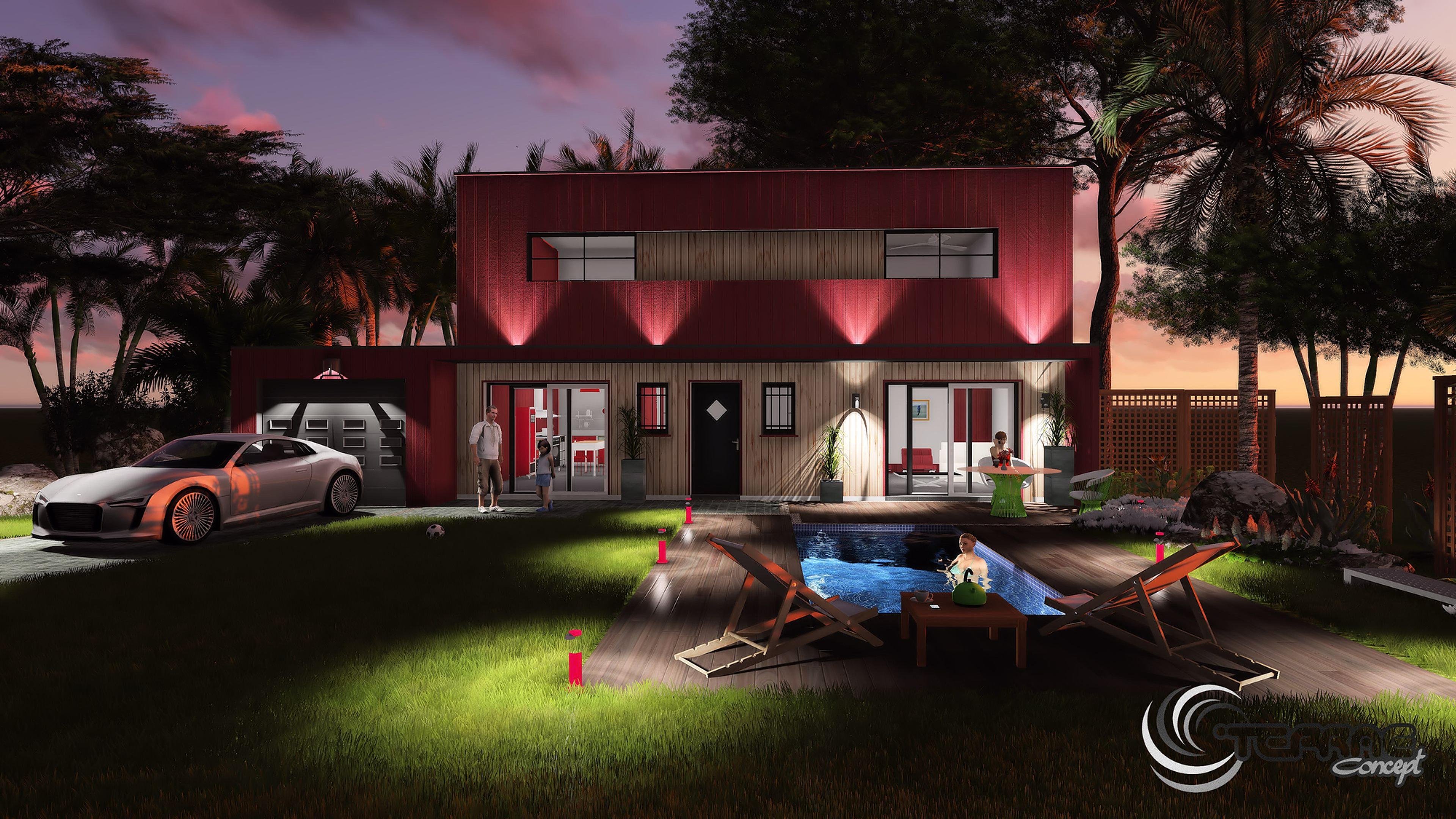Image maison 3d permis de construire plan maison 3d agence for Eclairage exterieur jardin et maison