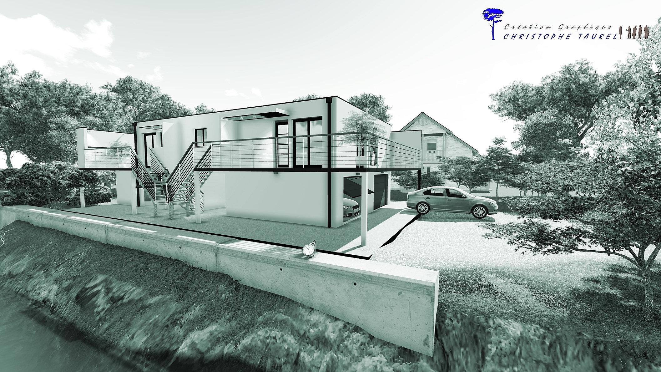 Image maison 3d permis de construire plan maison 3d agence for Tarif architecte pour plan maison