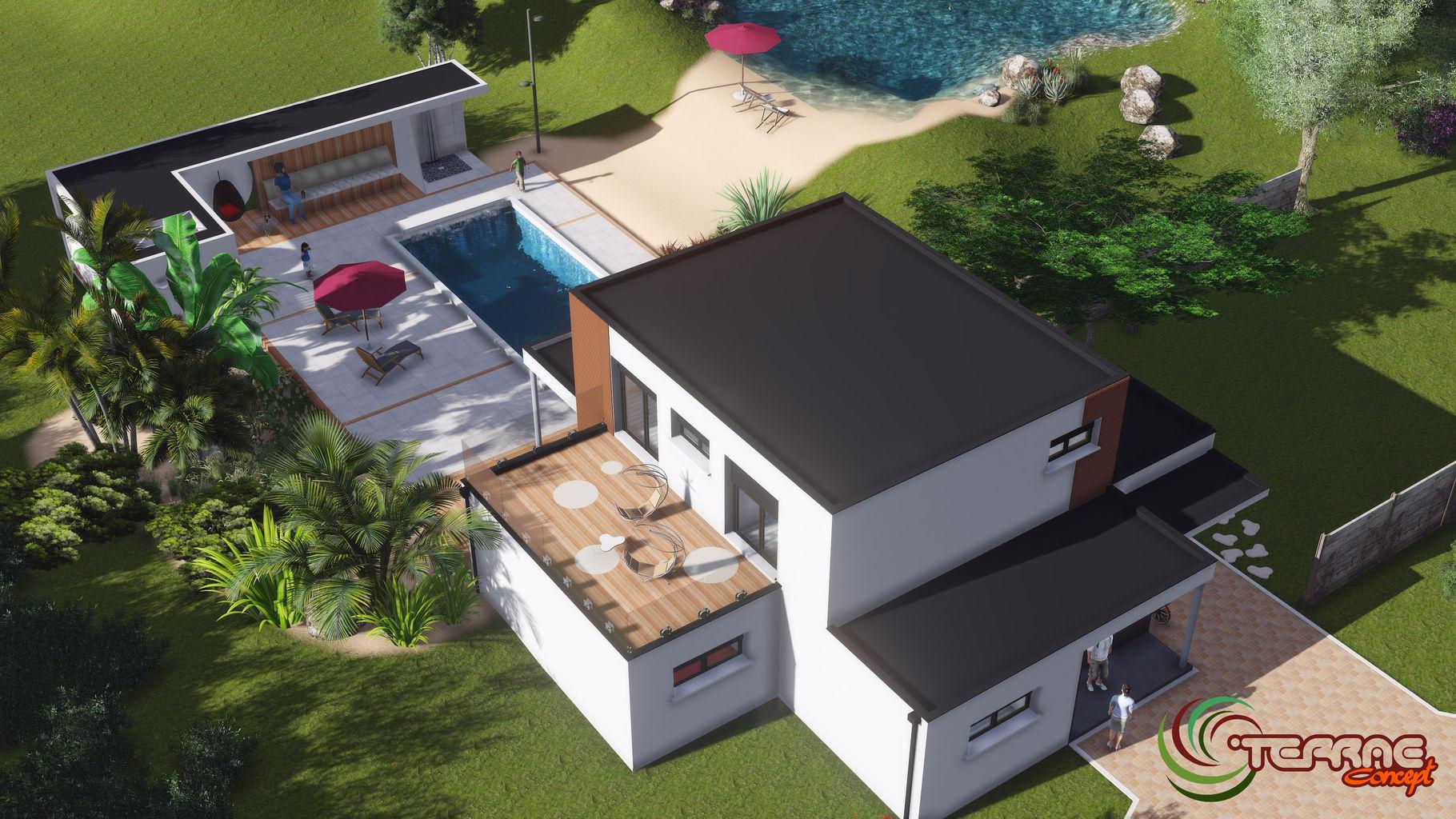 Plan de jardin 3D, permis de construire, image de maison 3D.Landscape ...