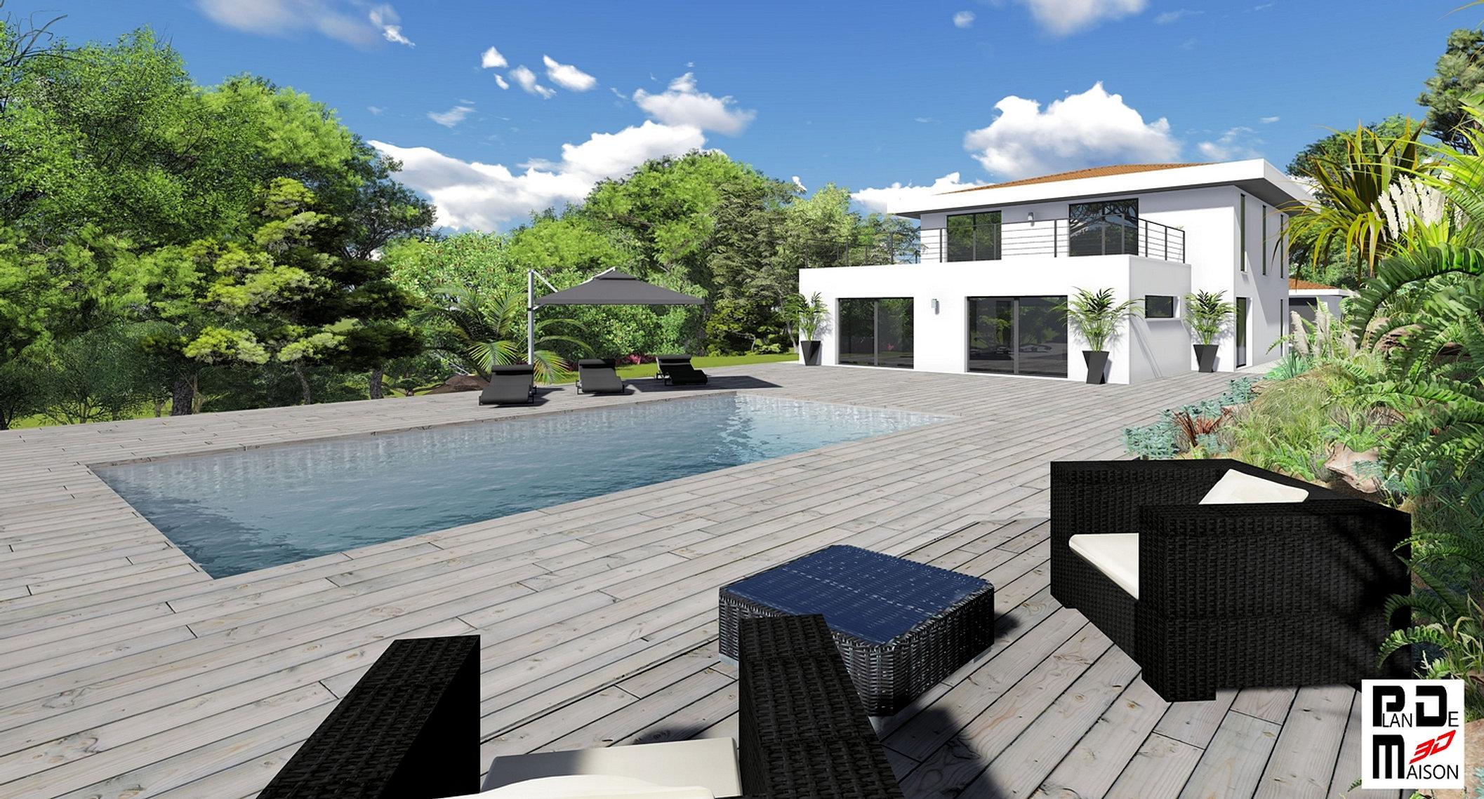 Image maison 3D/permis de construire/plan maison 3D/agence immobiliere