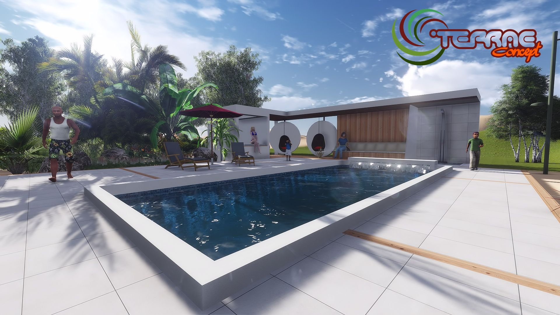 Image maison 3d permis de construire plan maison 3d agence for Construction pool house piscine