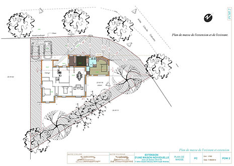 Exemple de plan permis de construire pour une extension for Agrandissement maison permis de construire