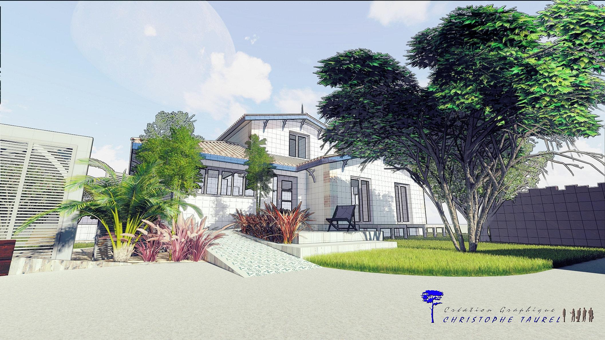 Image maison 3d permis de construire plan maison 3d agence for Dessinateur paysagiste