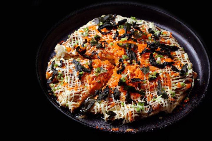 crabstick ebiko okonomiyaki