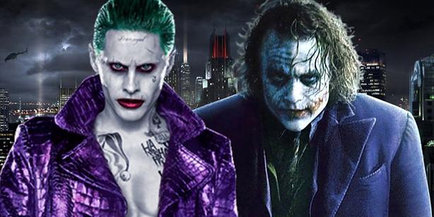 deux styles opposés un Ledger classique en complet 3 pièces et un Leto  gangster/punk. Le maquillage diffère également dans Batman, le joker ne  dévoile