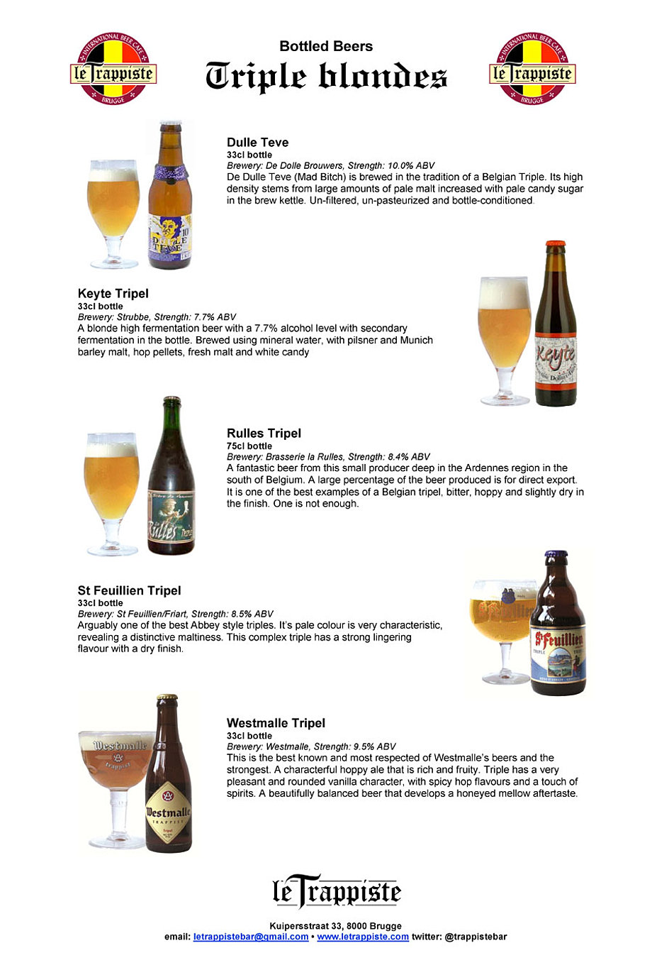 Le Trappiste – Beer Menu