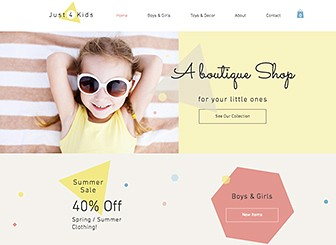Children's Boutique Template - With a creative design and playful theme, this a perfect eComm template for selling your line of children's products. Use the inner pages to talk about your business, locate your store, and display the full range of your products. It's never been easier for customers to purchase your products.