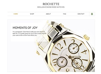 Watch Shop Template - A polished template with a luxurious feel. Highlight your top sellers using the product gallery on the homepage and edit the product details to get your online store ready for business. Customers can browse product images and descriptions, check out the FAQ, and select items for purchase.