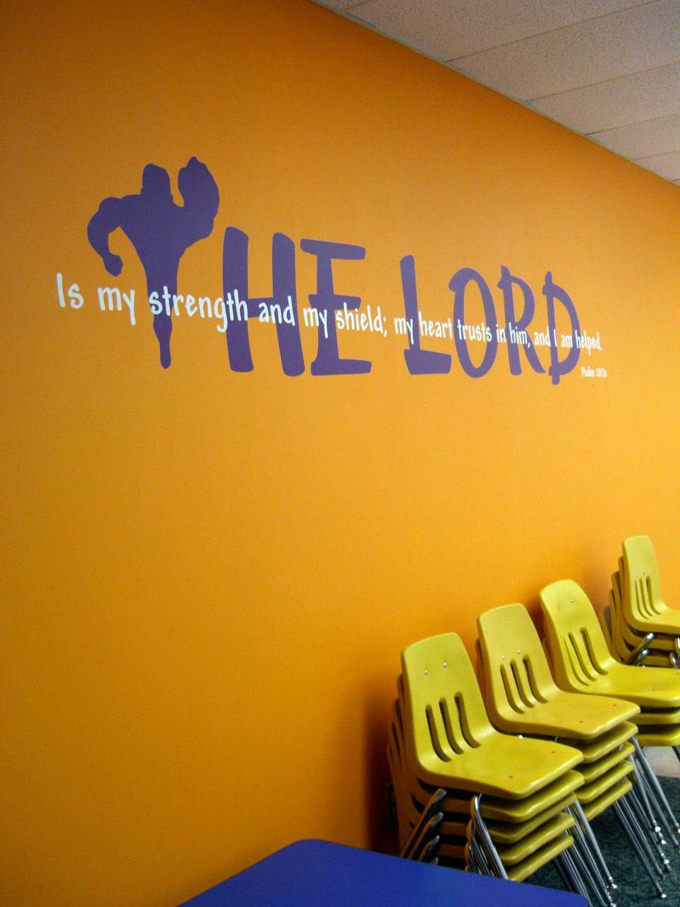 wall praise bible verse decal for your church worship center strength of the lord