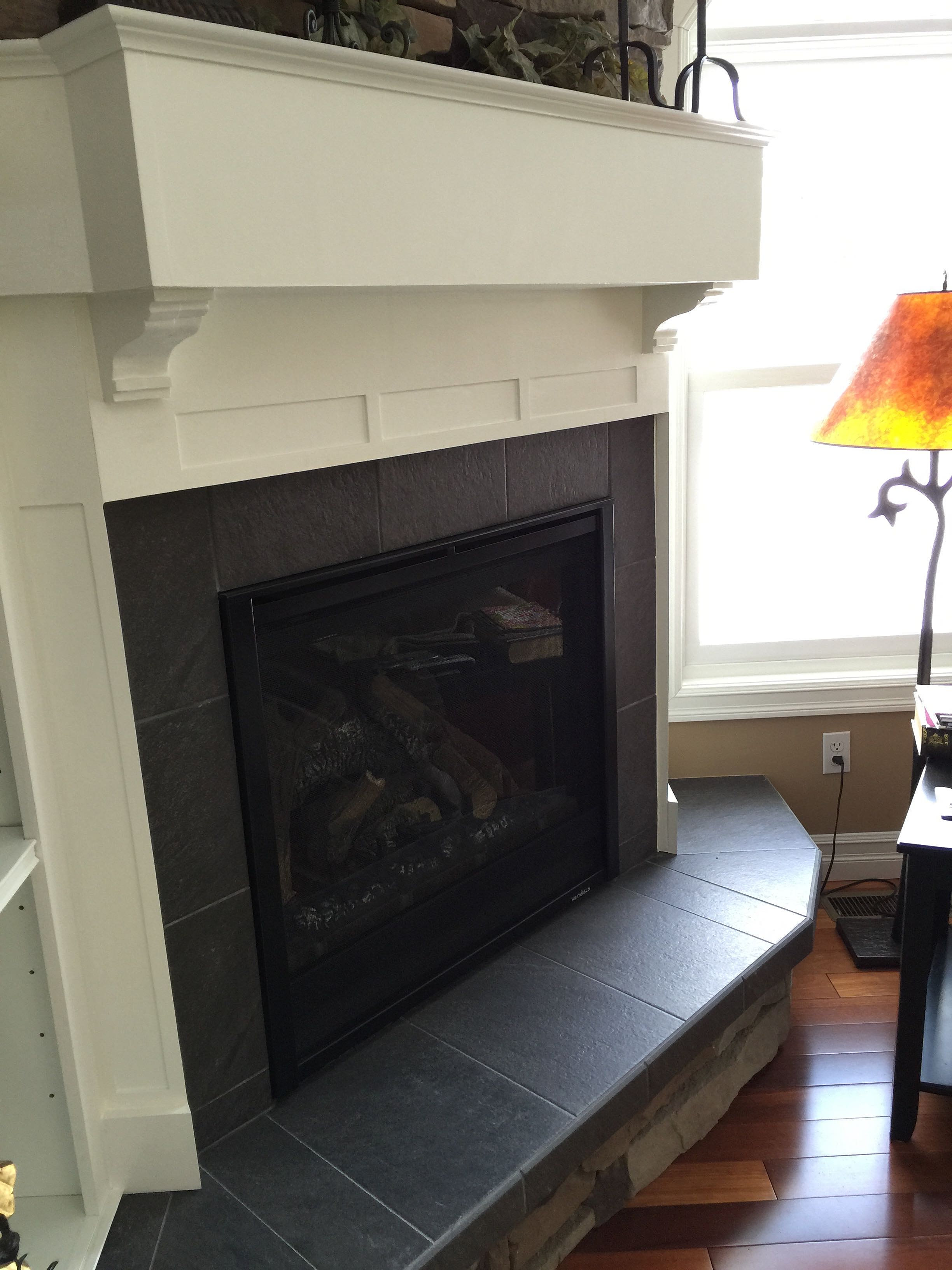 lord and lady construction slate tile fireplace surround