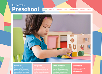 Preschool Template - Perfect for nurseries, daycares, and preschools, the pastel colors and geometric background of this template create a warm and friendly vibe. Customize the text and upload your own images to introduce your programs, staff, and philosophy. Start editing to craft a playful website that captures the spirit of your business!