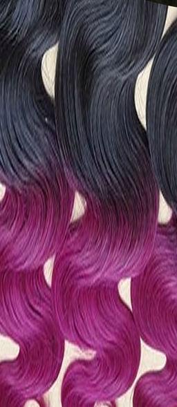 Wavy Black To Magenta Ombre Clip In Hair