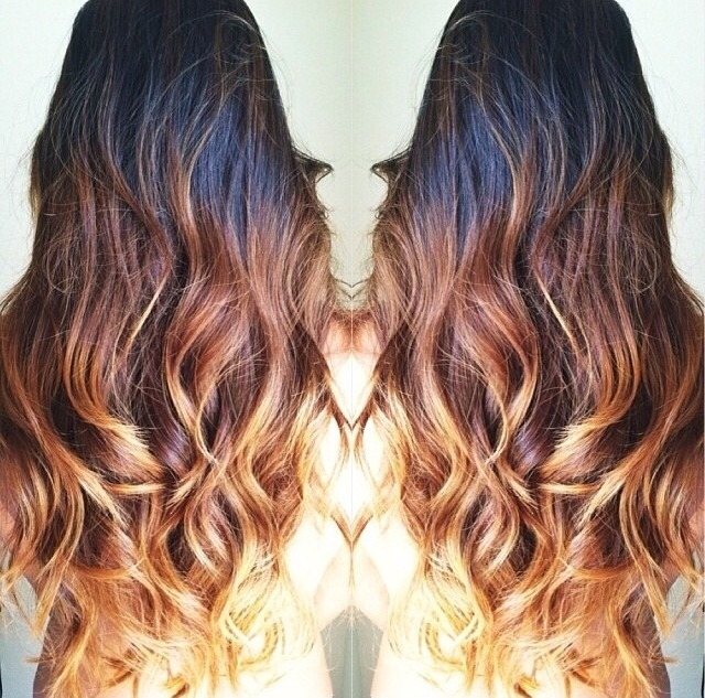 Wavy Black Brown Honey Blonde Ombre Clip In Hair