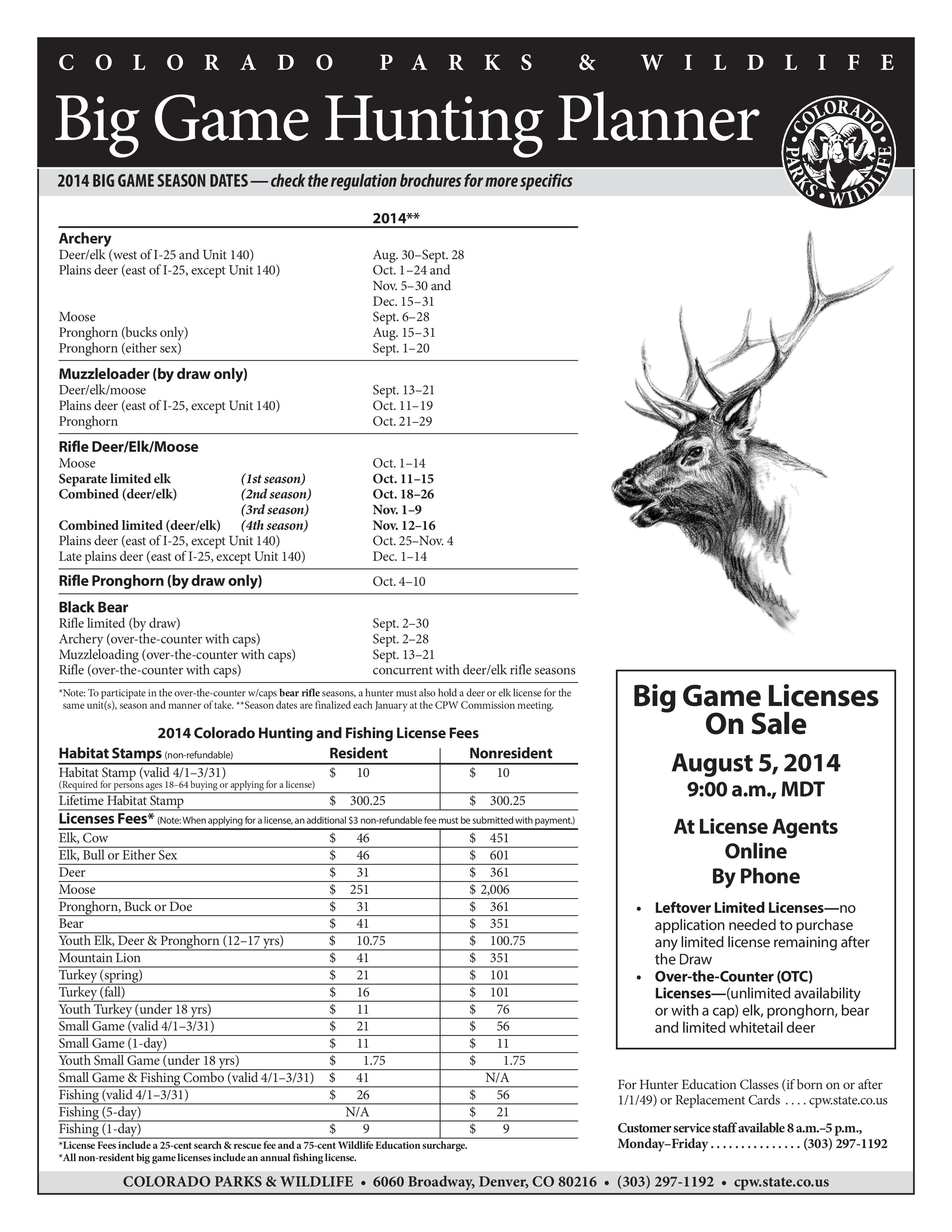 Colorado hunting season schedule dark timber custom for Buy colorado fishing license