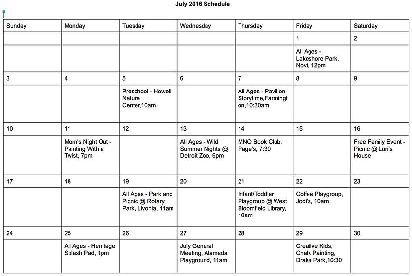 Farmington Area Mothers Club Sample Calendar – Sample Calendar