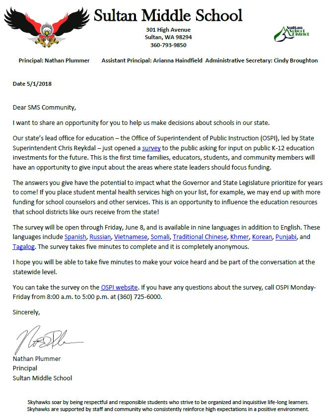 A Message From The Office Of Superintendent Of Public Instruction