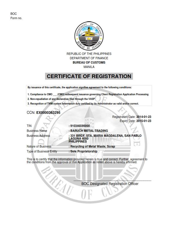 Baruchmetal Licenses